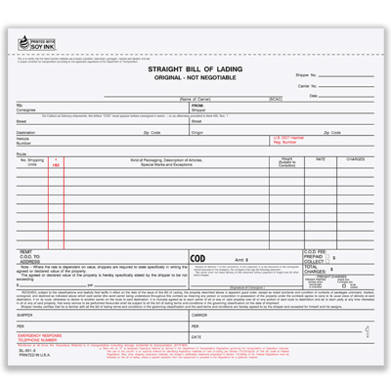 Picture of Bill of Lading Form - 3 Part Carbonless (BLCC-602-3)