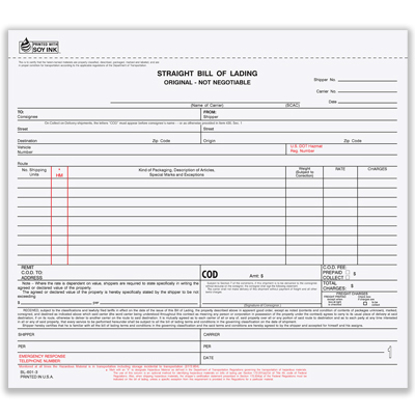 Picture of Bill of Lading Form - 4 Part Carbonless (BLCC-602-4)