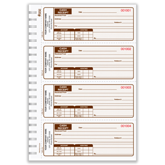 custom cash receipt books