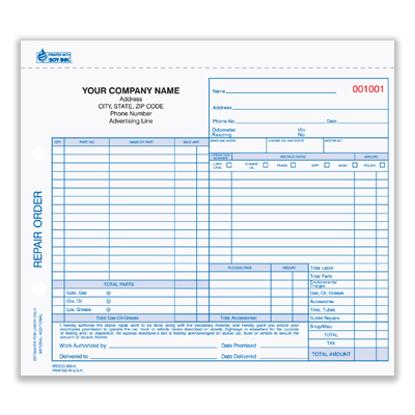 Picture of Auto Repair Order Form - 3 Part Carbonless (AROCC-600-3)