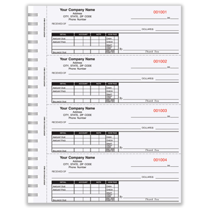 custom carbonless receipt books