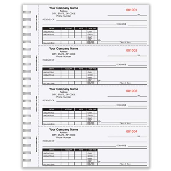 custom printed receipt books