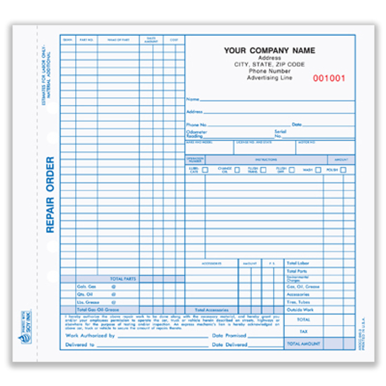 Picture of Auto Repair Order Form - 3 Part Carbonless (AROCC-645-3)