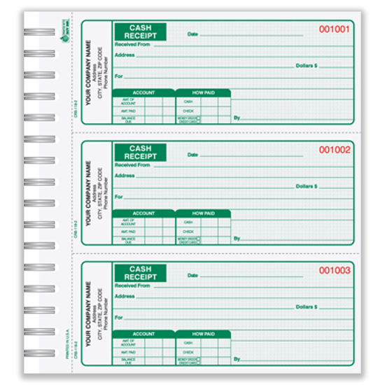 3 part receipt books