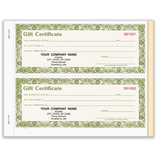 gift certificate book