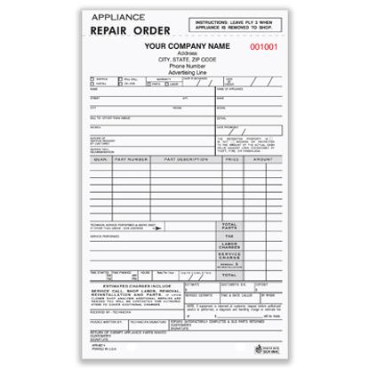 appliance repair work order form