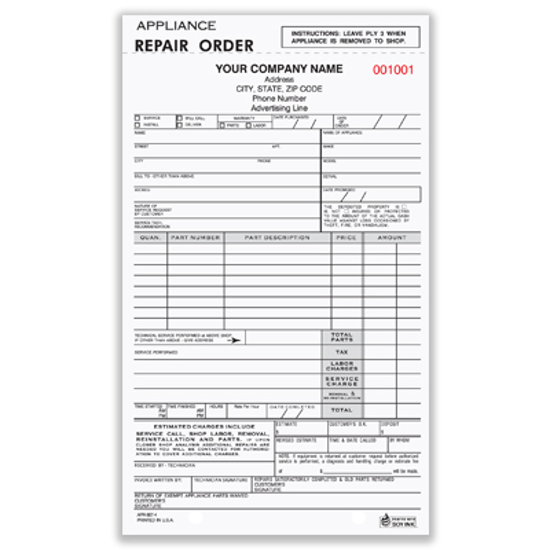 appliance repair work order form
