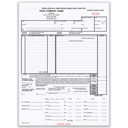 Picture of Smog Control Order Form - 4 Part Carbon (SCCA-375-4)