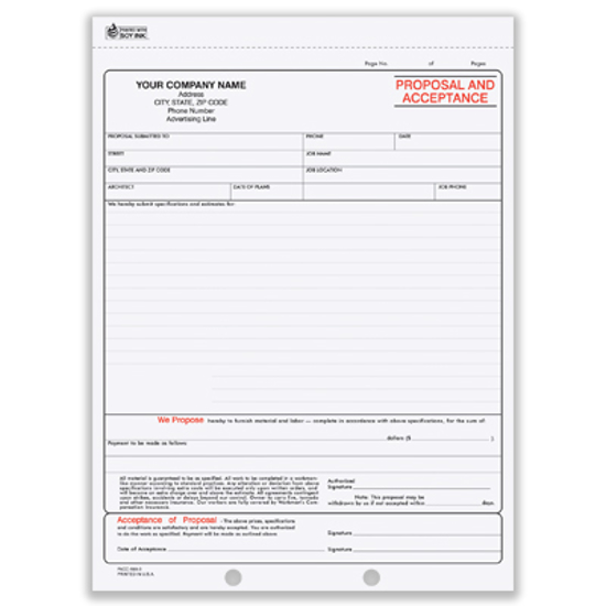 Picture of Proposal and Acceptance Form - 2 Part Carbonless (PACC-693-2)