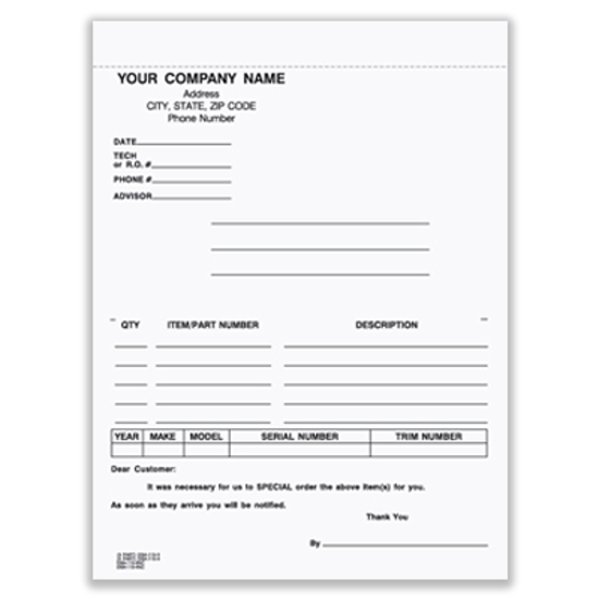 Picture of Special Parts Order Form - 3 Part Carbonless (DSA-115-3-NC)