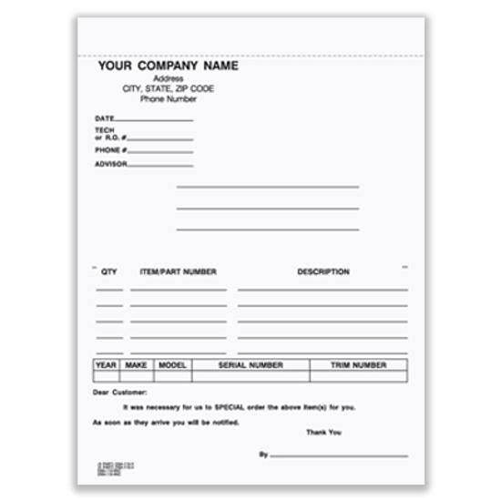 Picture of Special Parts Order Form - 3 Part Carbon (DSA-115-3-CARB)