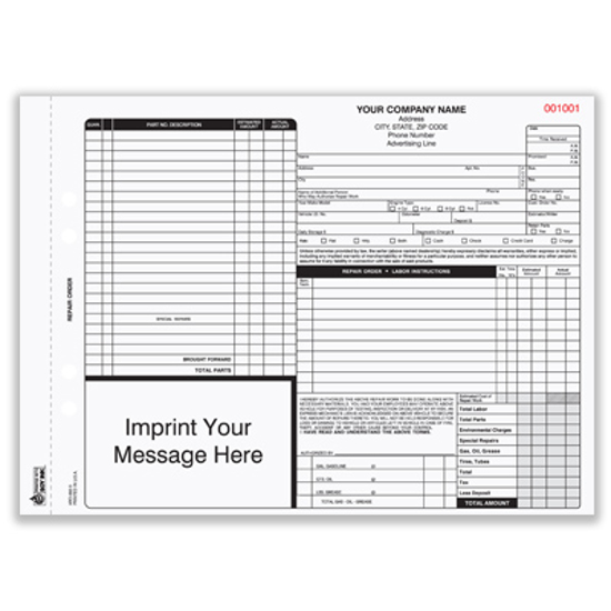 Picture of Auto Repair Order Form - 3 Part w/ Carbon (ARO-682-3)