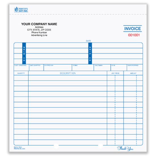 Picture of Invoice Form - 3 Part Carbonless (INVCC-758-3)