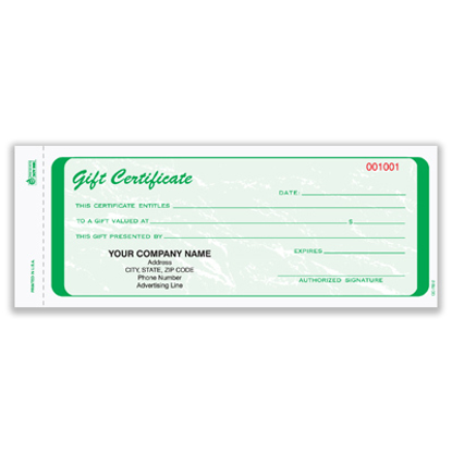 Picture of Gift Certificate - 2 Part Carbonless - Green (GC-782-2)