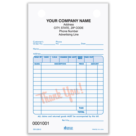 Picture of General Sales Register Form - 2 Part Carbonless (GS-228-2)