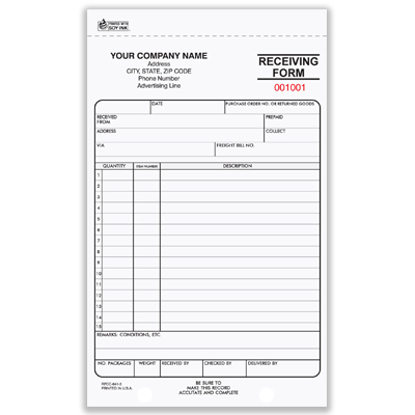 Picture of Receiving Form - 3 Part Carbonless (RFCC-641-3)