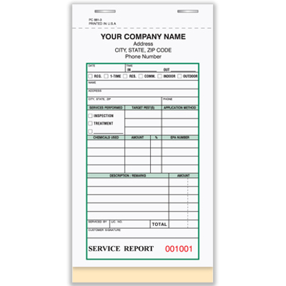 Picture of Pest Control Service Report Book - 3 Part Carbonless (PC-881-3)