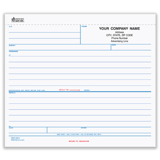 Picture of Ruled-Reply Memo - 3 Part Carbonless (RMCC-848-3)