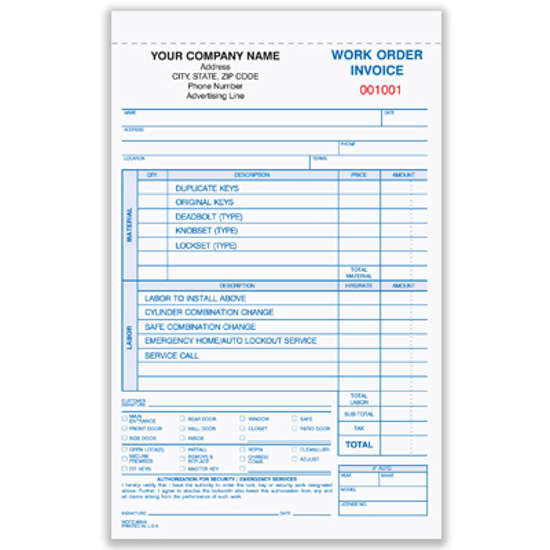 Picture of Locksmith Work Order/invoice Form - 3 Part Carbonless (WOCC-850-3)