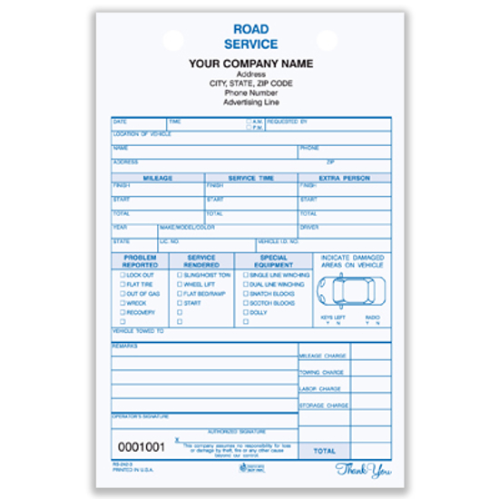 Picture of Road Service Register Form - 2 Part Carbonless (RS-242-2)