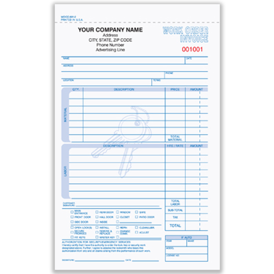 Picture of Locksmith Work Order/invoice Form - 2 Part Carbonless (WOICC-891-2)