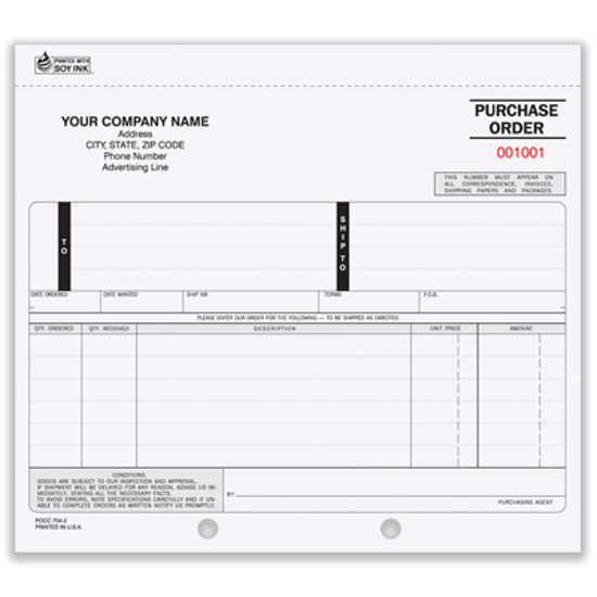 Picture of Purchase Order Form - 3 Part Carbon (PO-703-3)