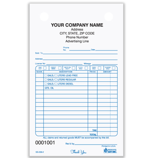 Picture of Service Station Register Form - 3 Part Carbonless (SS-236-3)
