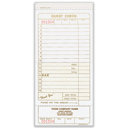 Picture of Guest Check - 2 Part Carbonless Imprinted (NS-247-2IMP)