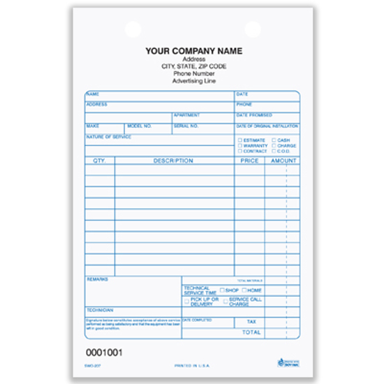 Picture of Service Work Order Register Form - 3 Part Carbonless (SWO-207-3)