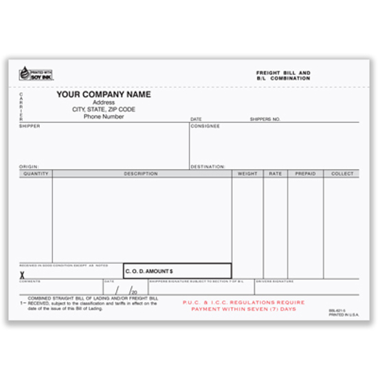 Picture of Freight Bill/Bill of Lading Form  - 5 Part w/ Carbon (BBL-621-5)