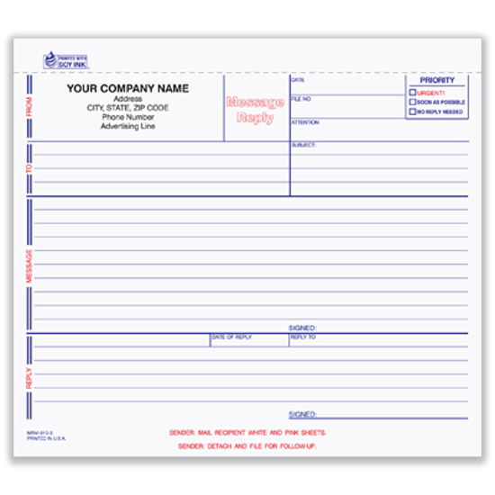 Picture of Message/Reply Memo - 3 Part Carbonless (MRM-810-3)