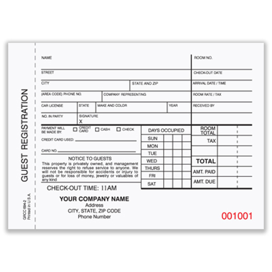Picture of Hotel Guest Registration Form - 2 Part Carbonless (GRCC-694-2)