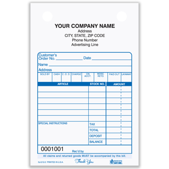Picture of Gift/Jewelry Register Form - 3 Part Carbonless (GJ-212-3)