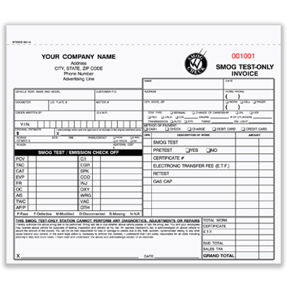 Picture of Smog Test Only Invoice Form - 3 Part Carbonless (STOICC-341-3)