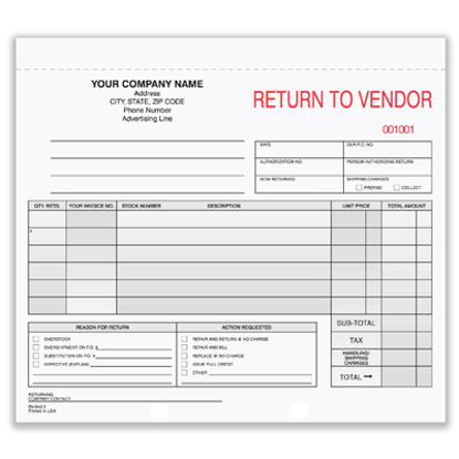 Picture of Return to Vendor Form - 3 Part Carbonless (RV-643-3)