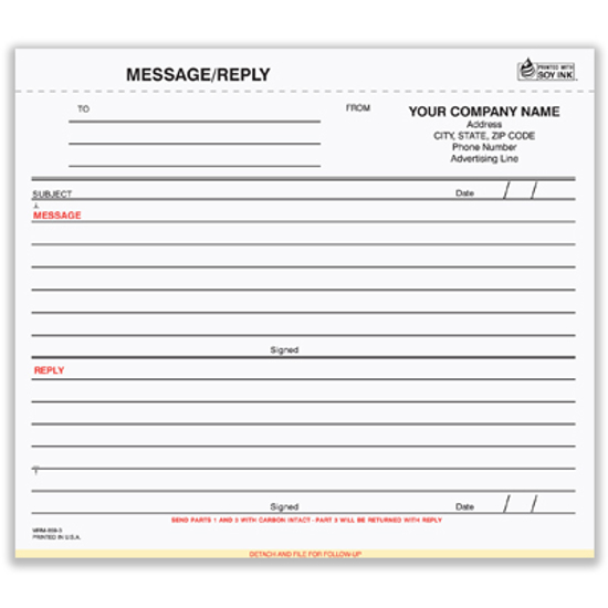 Picture of Message/Reply Memo - 3 Part Carbon (MRM-859-3)