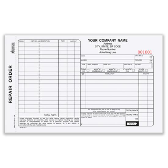 Picture of Automotive Repair Order Form - 3 Part w/ Carbon (ROCC-573-3)