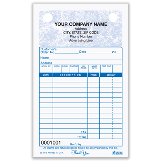 Picture of General Sales Register Form - 3 Part Carbonless - Marble (GS-271-3)
