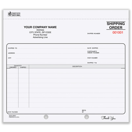 Picture of Shipping Order Form - 3 Part Carbon (SO-620-3)