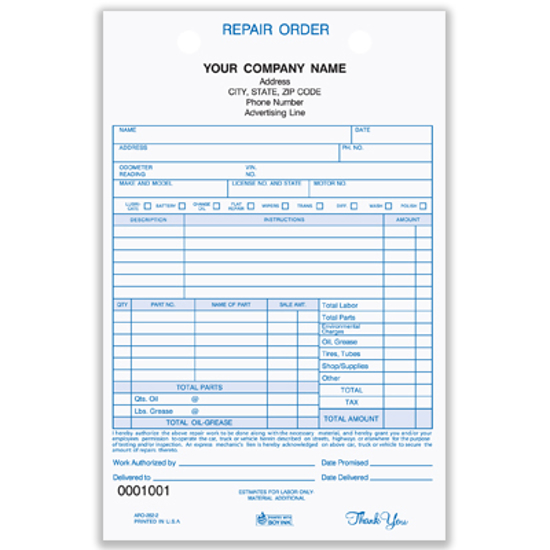 Auto Repair Register Form ARO-282-2
