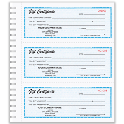 Blue Gift Certificate Book GC-790-2
