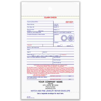 Picture of Jewelry Repair Envelope - 3 Part Carbonless (JRE-9947-3)