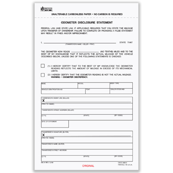 Picture of Odometer Disclosure Statement Form- 3 Part Carbonless Blank (OSCC-668-3)