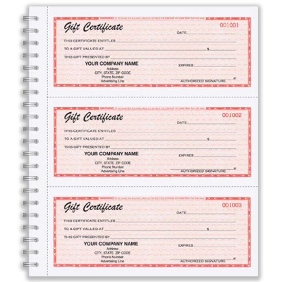 Picture of Gift Certificate Wire-Bound Book (GC-791-2)