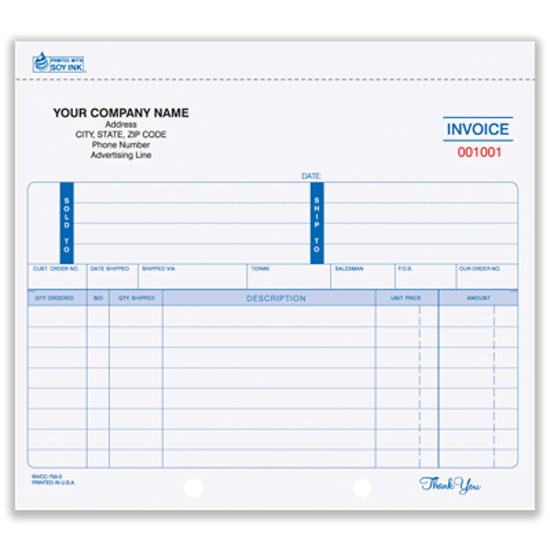 Picture of Invoice Form - 2 Part Carbon (INV-754-2)
