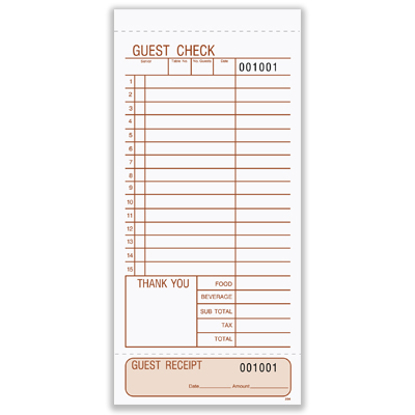 Picture of Guest Check - 3 Part Carbonless (204)