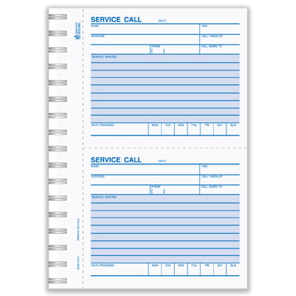Picture of Service Call Book - 2 Part Carbonless Blank (SCB-115-2)
