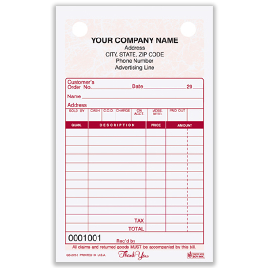 Picture of General Sales Register Form - 2 Part Carbonless - Marble (GS-272-2)