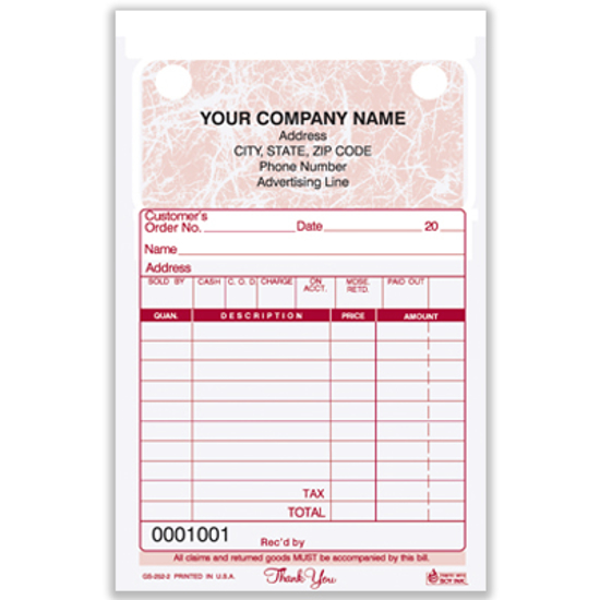 Picture of General Sales Register Form - 2 Part Carbonless - Marble (GS-252-2)