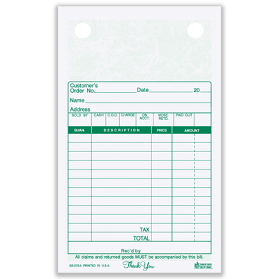 Picture of General Sales Register Form - 2 Part Carbonless - Marble (GS-273-2)